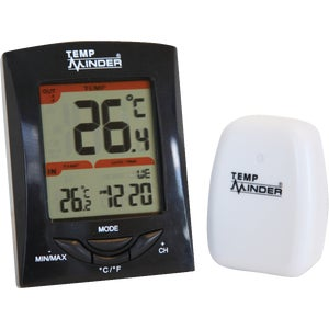 Minder Research Wireless Indoor and Outdoor Thermometer with Clock-COMPACT WIRELESS THERM
