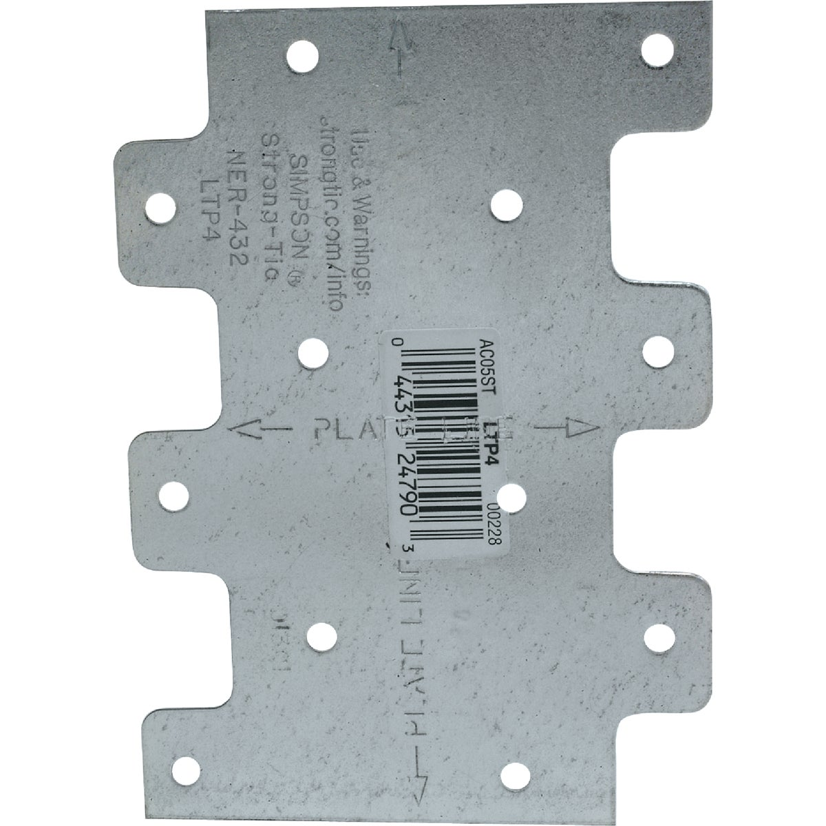LATERAL TIE PLATE - LTP4 by Simpson Strong Tie