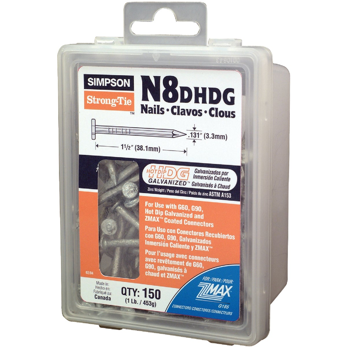 """1LB 8DX1-1/2"""" HDG NAILS - N8DHDG by Simpson Strong Tie"""