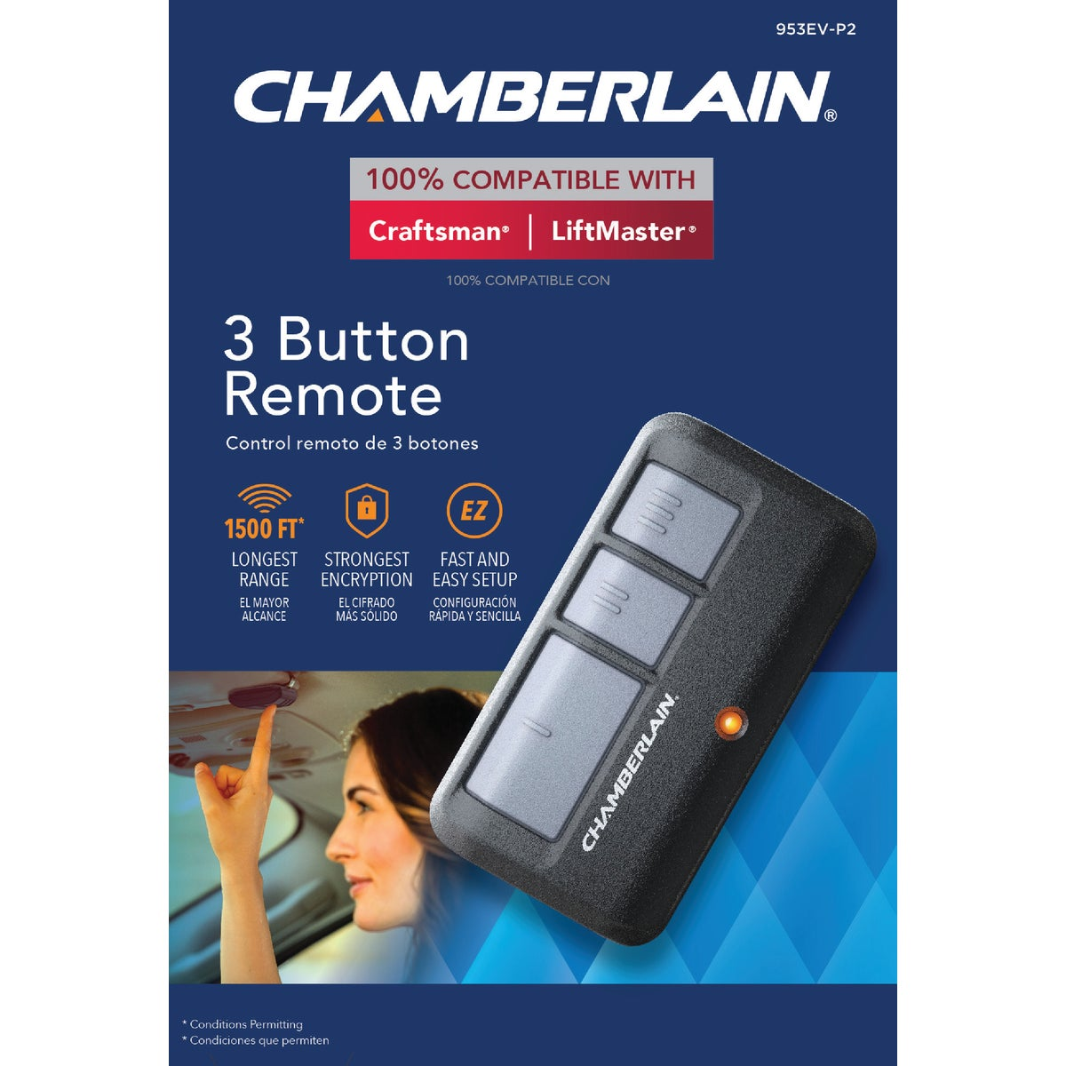 3 BUTTON GARAGE REMOTE - 953EV by Chamberlain