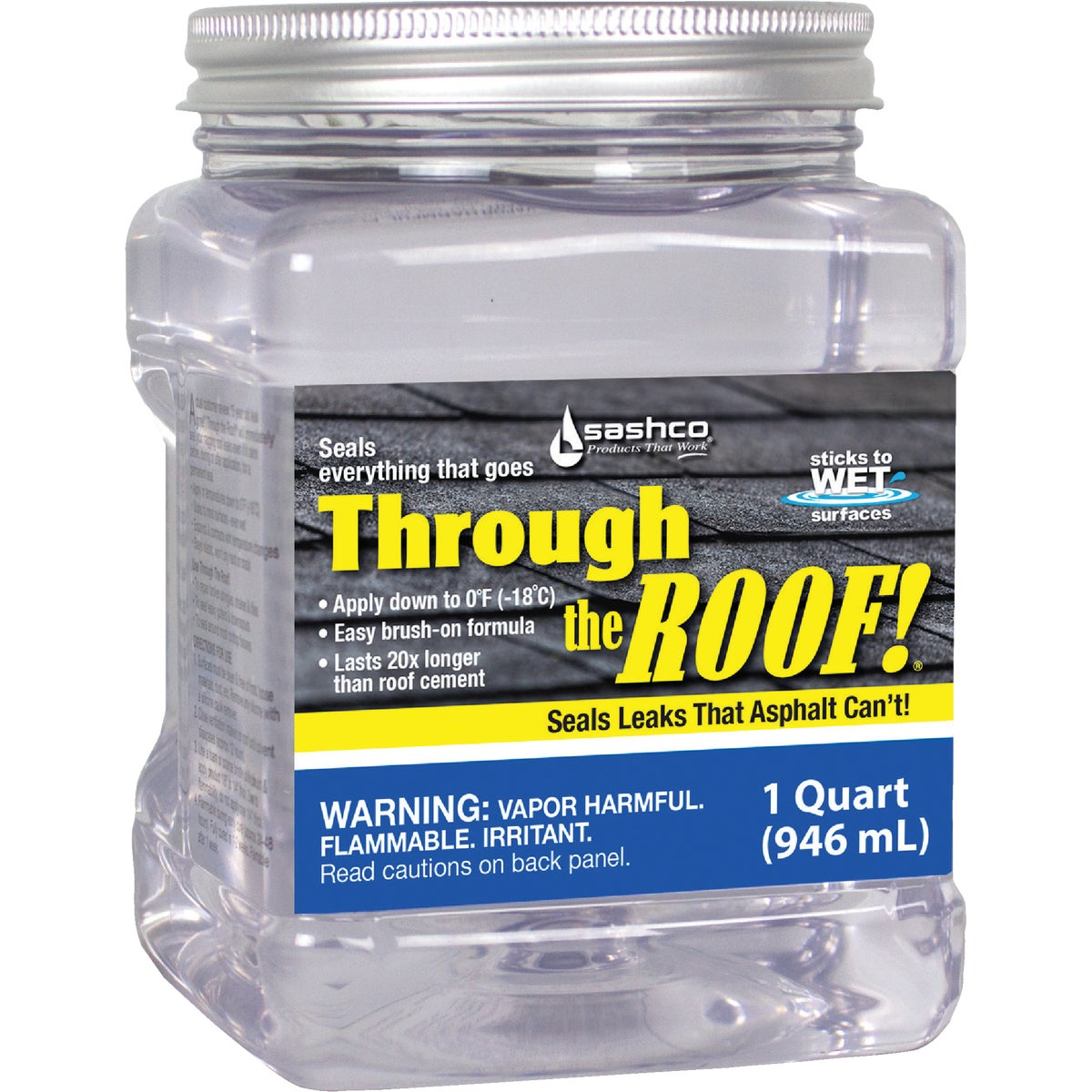 Sashco Through The Roof Sealant, Brush Grade, 1 Quart Can, Clear (Pack of 1)