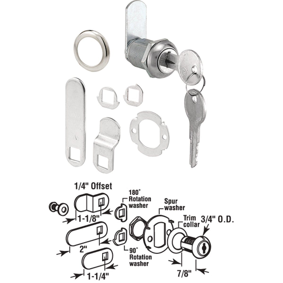 "21/32"" DOOR/DRAWER LOCK - U 9943 by Prime Line Products"