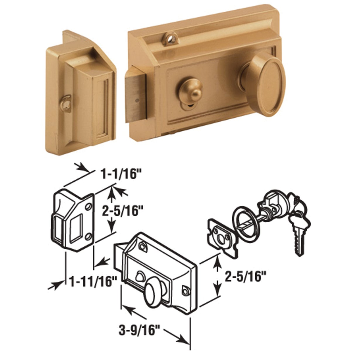 BRS NIGHT LATCH W/TURN - U 9967 by Prime Line Products
