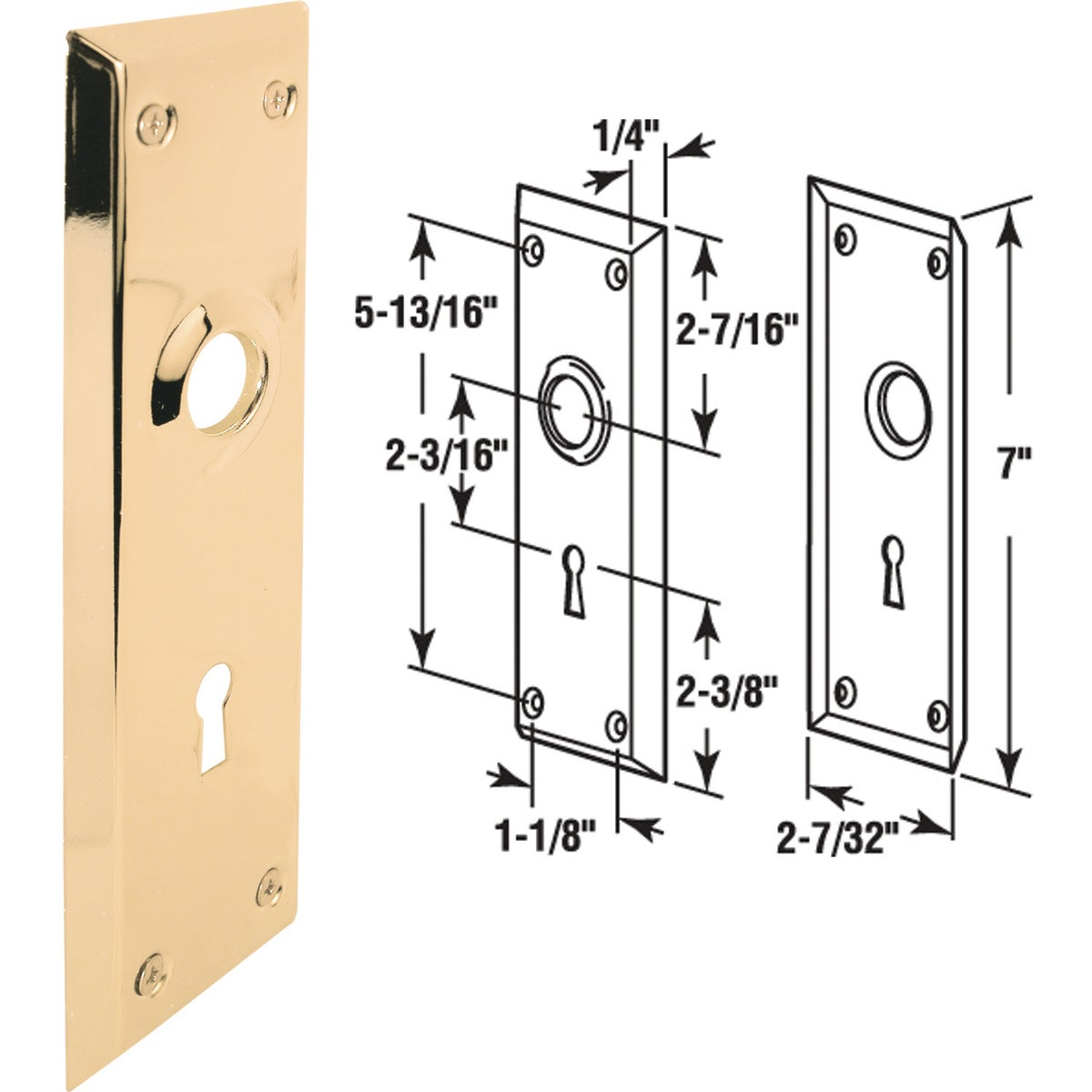 BRS MORTISE TRIM PLATE - E 2295 by Prime Line Products
