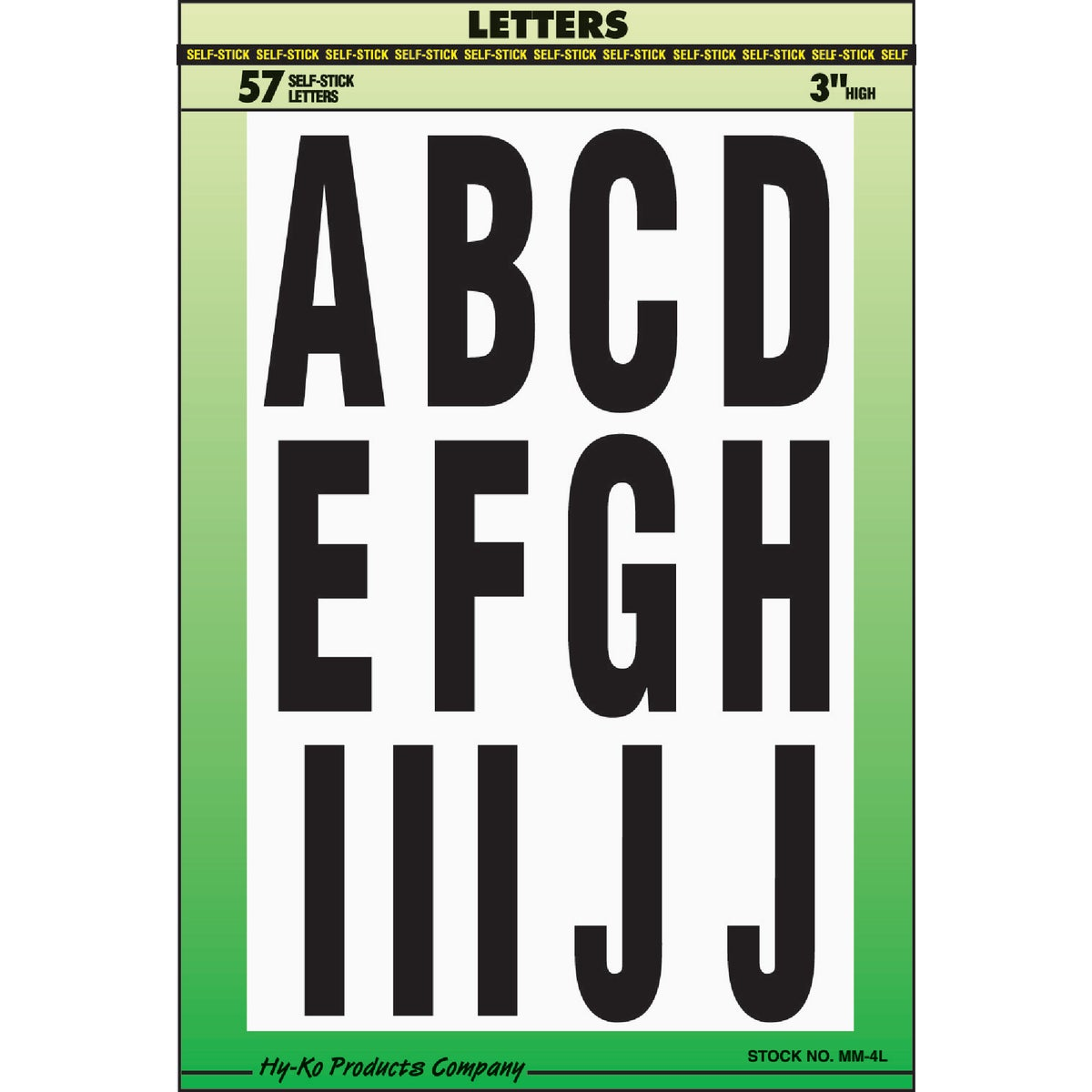 "3"" ASSORTMENT LETTERS - MM-4L57 by Hy Ko Prods Co"