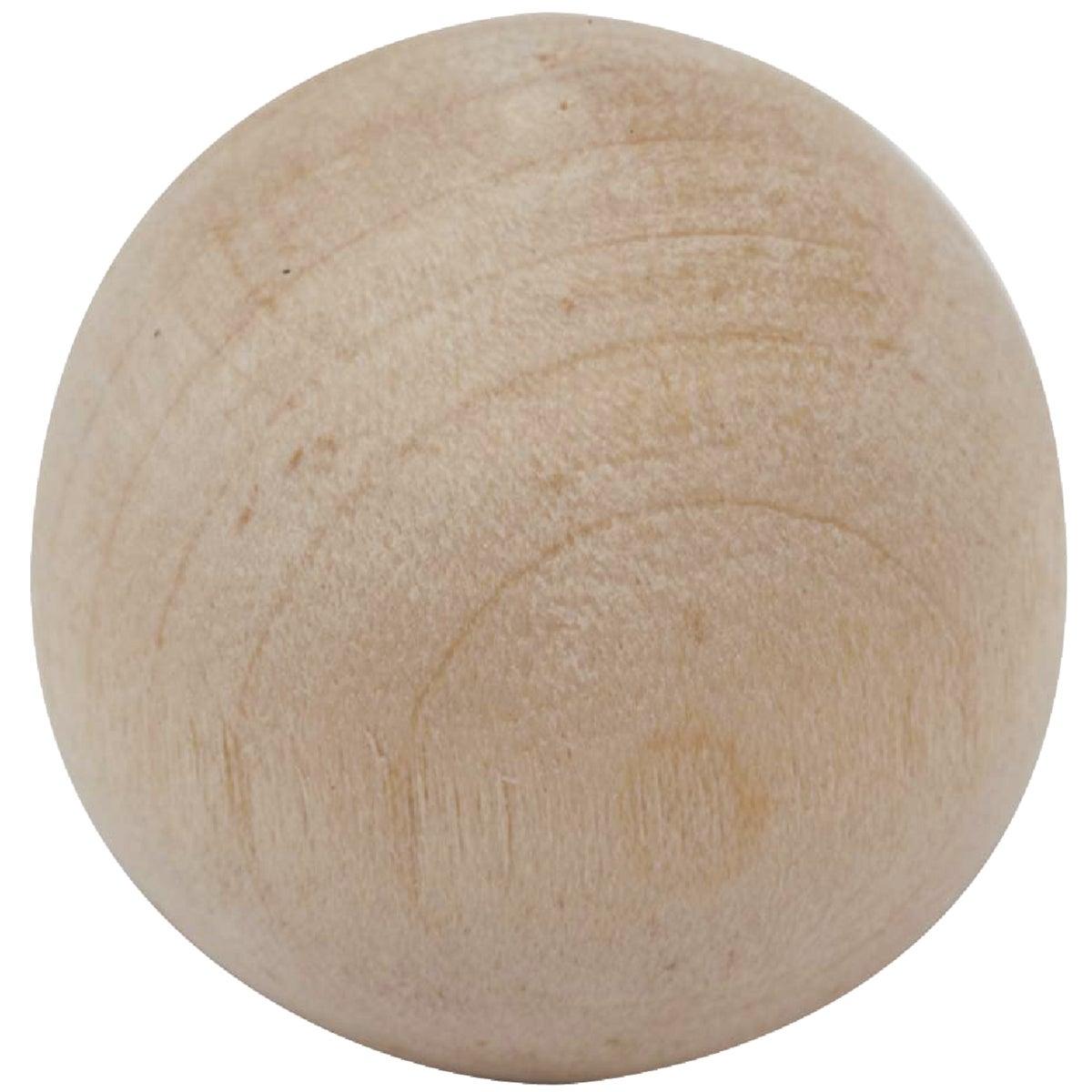 "1-1/2""HARDWOOD BALL KNOB - 11405DI-1.5 by Waddell Mfg Company"