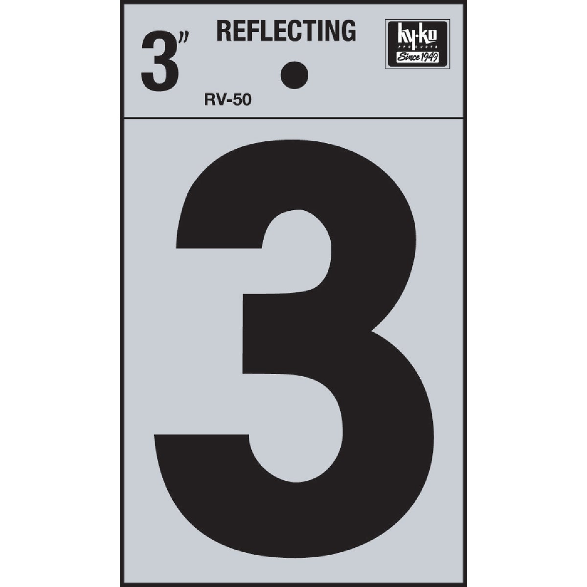 "3"" REFLECT NUMBER 3 - RV-50-3 by Hy Ko Prods Co"
