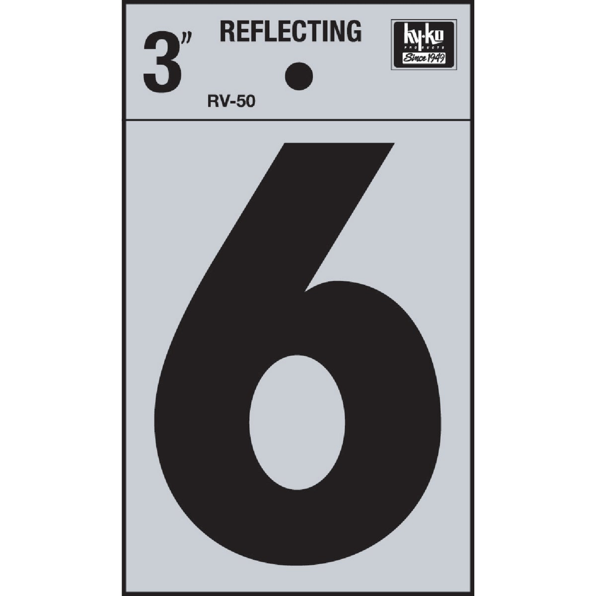 "3"" REFLECT NUMBER 6 - RV-50-6 by Hy Ko Prods Co"