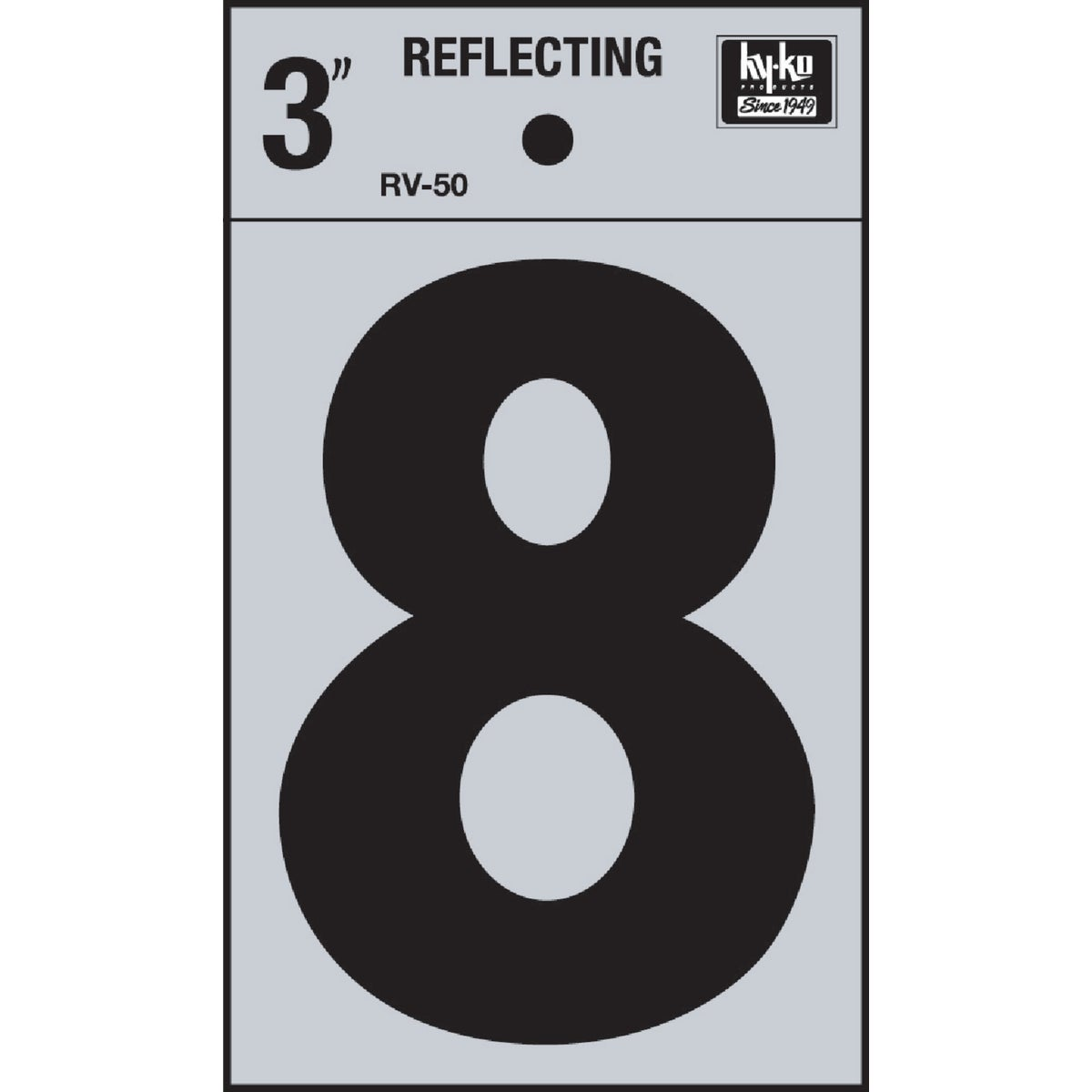 "3"" REFLECT NUMBER 8 - RV-50-8 by Hy Ko Prods Co"