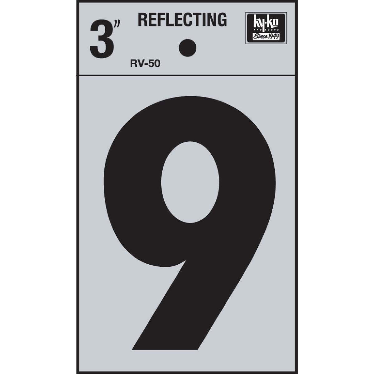 "3"" REFLECT NUMBER 9 - RV-50-9 by Hy Ko Prods Co"