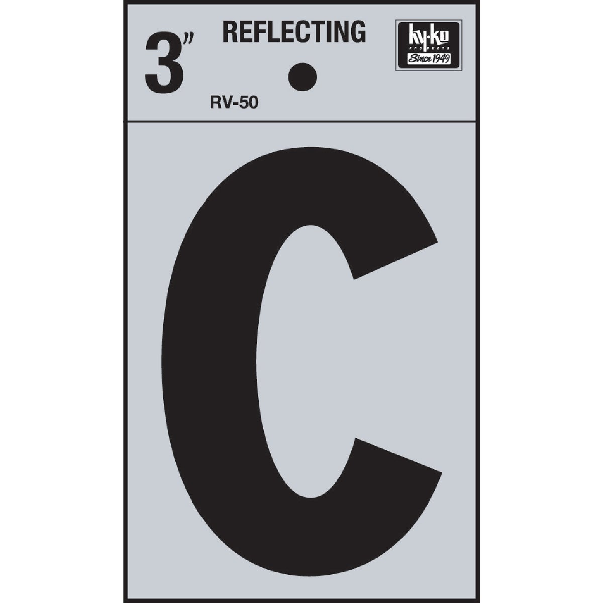 "3"" REFLECT LETTER C - RV-50C by Hy Ko Prods Co"