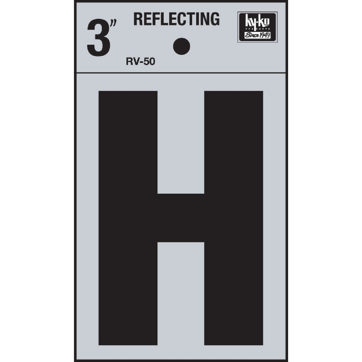 "3"" REFLECT LETTER H - RV-50H by Hy Ko Prods Co"