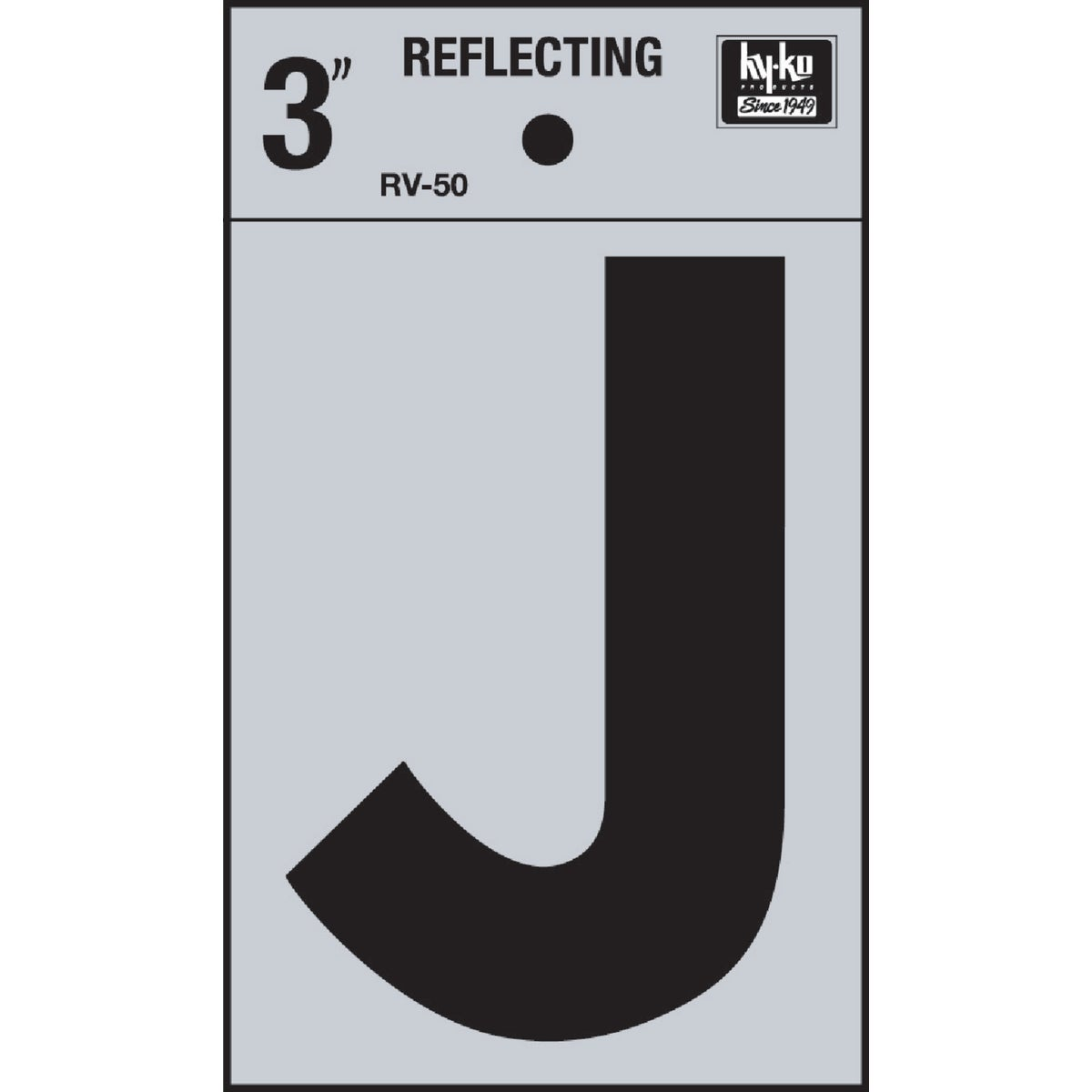 "3"" REFLECT LETTER J - RV-50J by Hy Ko Prods Co"