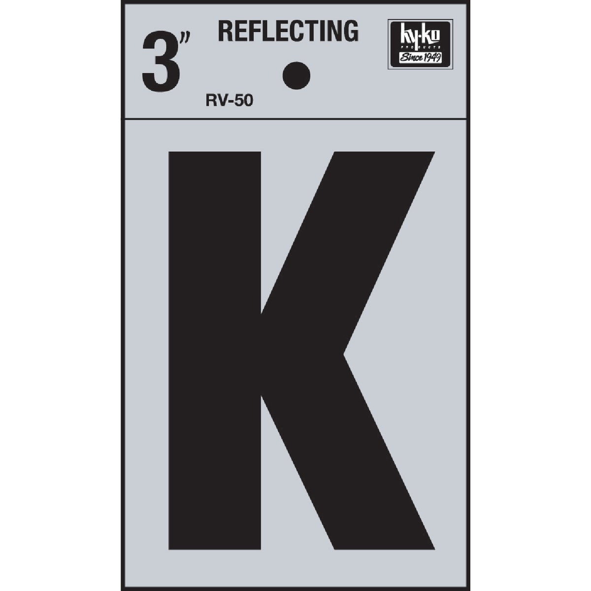 "3"" REFLECT LETTER K - RV-50K by Hy Ko Prods Co"