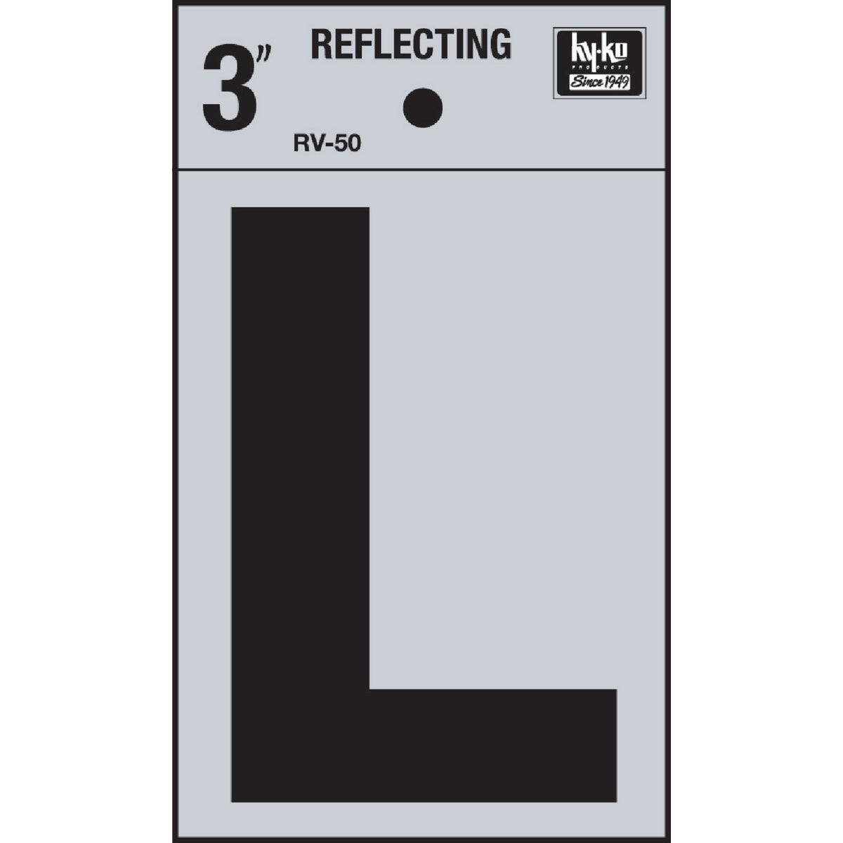 "3"" REFLECT LETTER L - RV-50L by Hy Ko Prods Co"