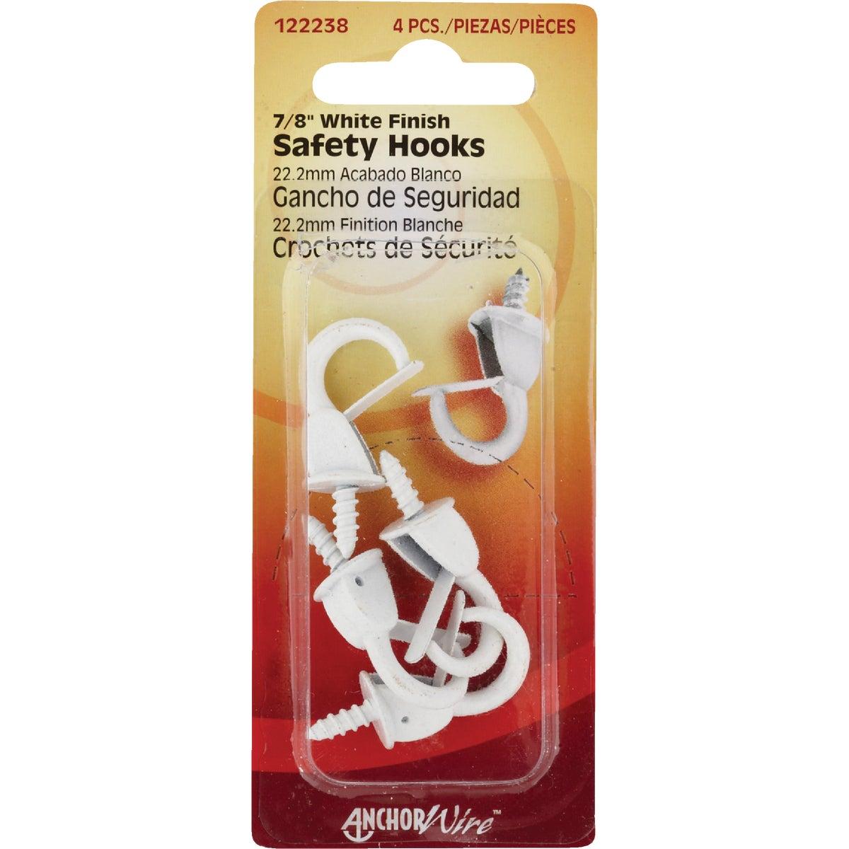 WHITE SAFETY HOOK - 122238 by Hillman Fastener