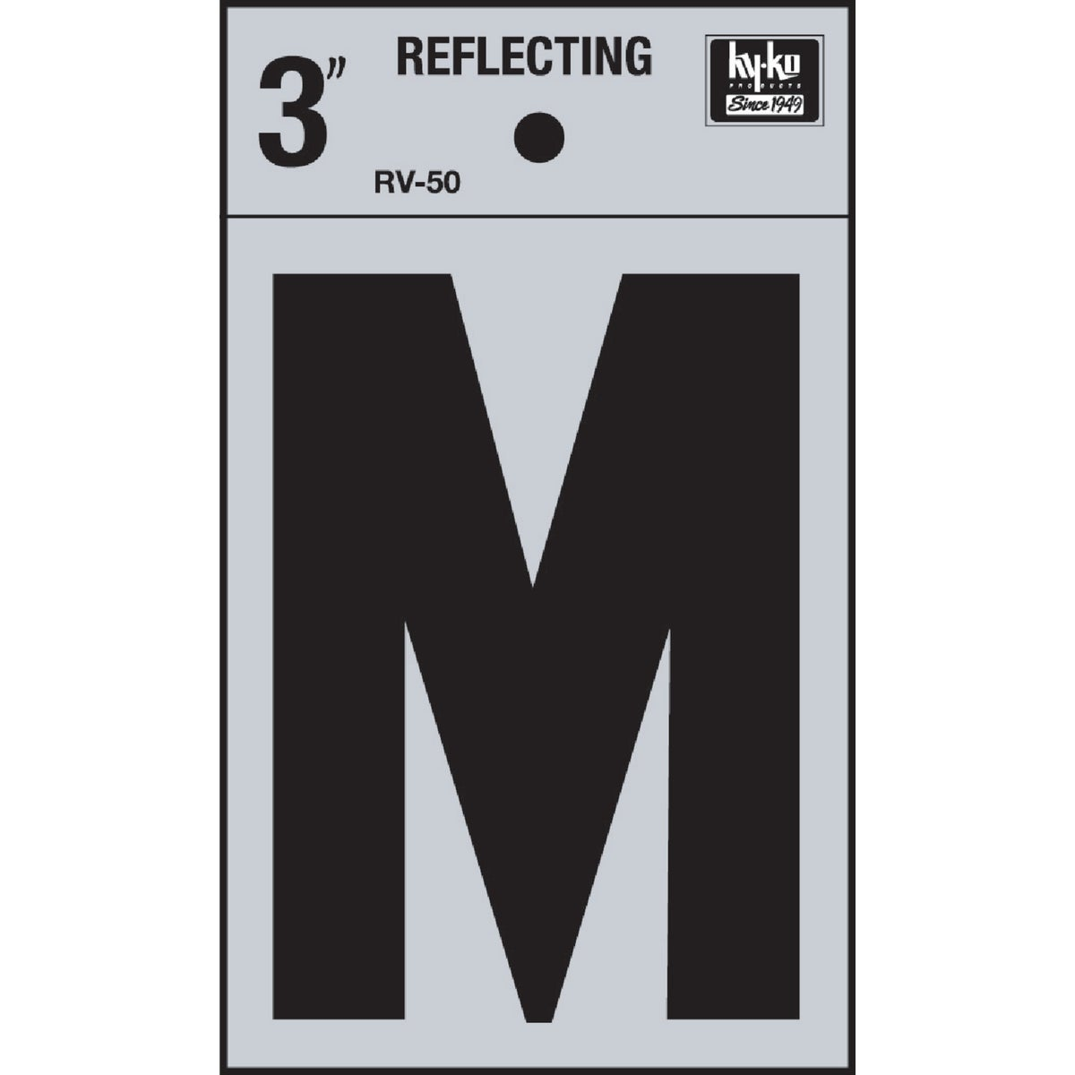 "3"" REFLECT LETTER M - RV-50M by Hy Ko Prods Co"