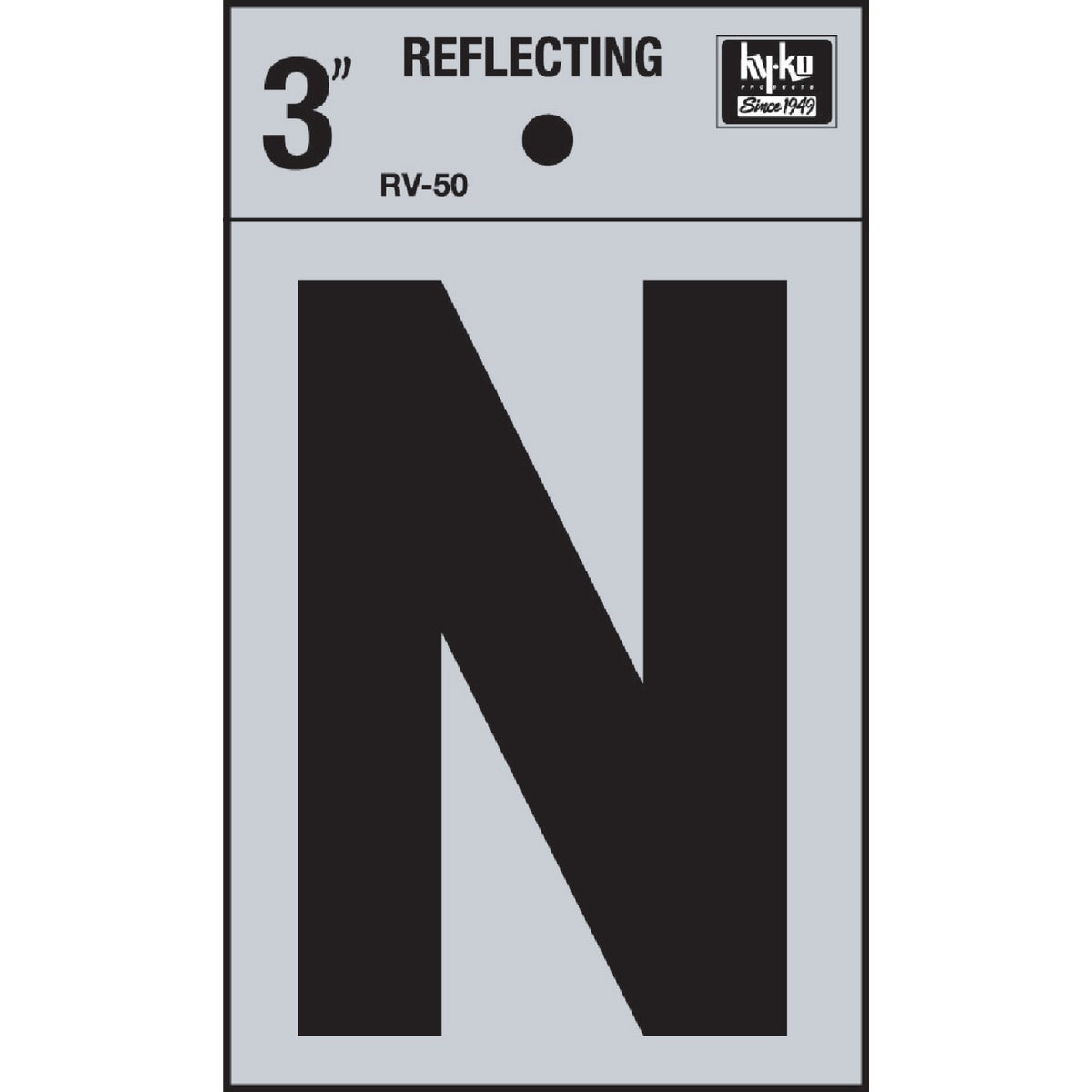 "3"" REFLECT LETTER N - RV-50N by Hy Ko Prods Co"
