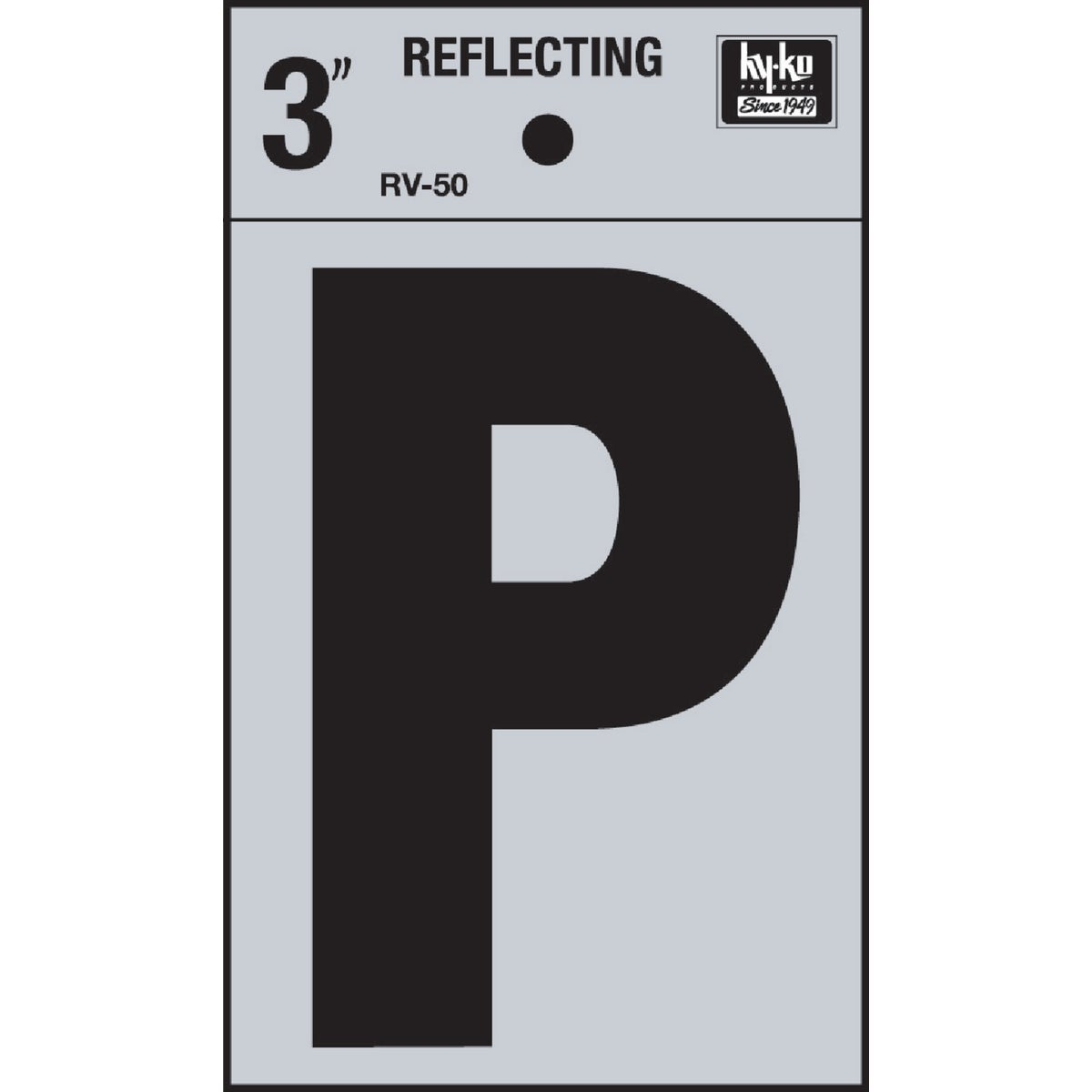 "3"" REFLECT LETTER P - RV-50P by Hy Ko Prods Co"
