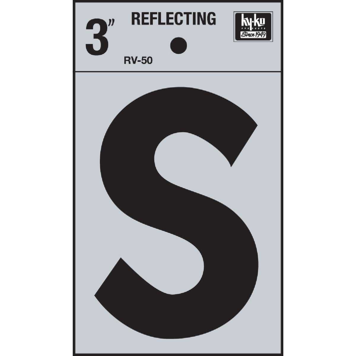 "3"" REFLECT LETTER S - RV-50S by Hy Ko Prods Co"