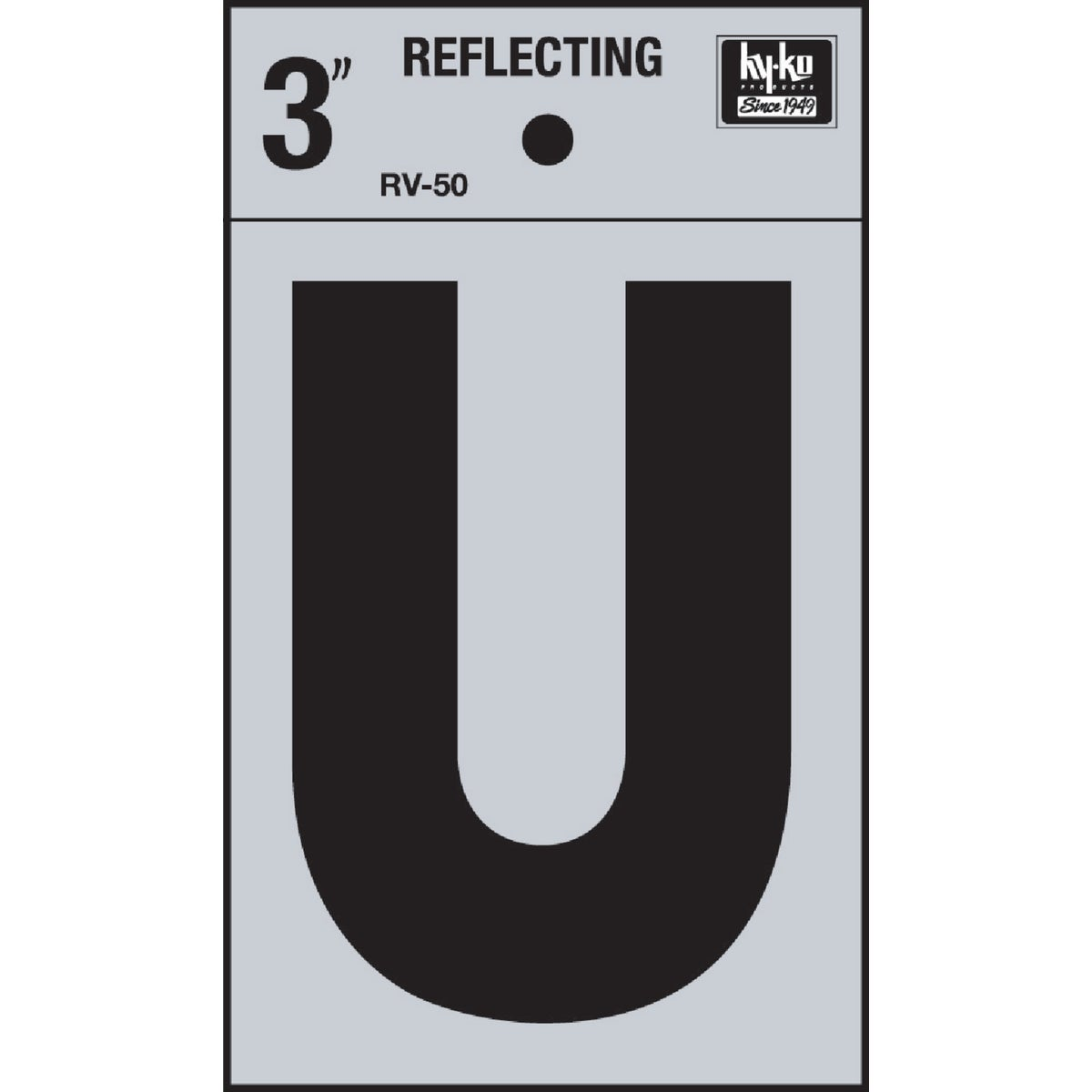 "3"" REFLECT LETTER U - RV-50U by Hy Ko Prods Co"
