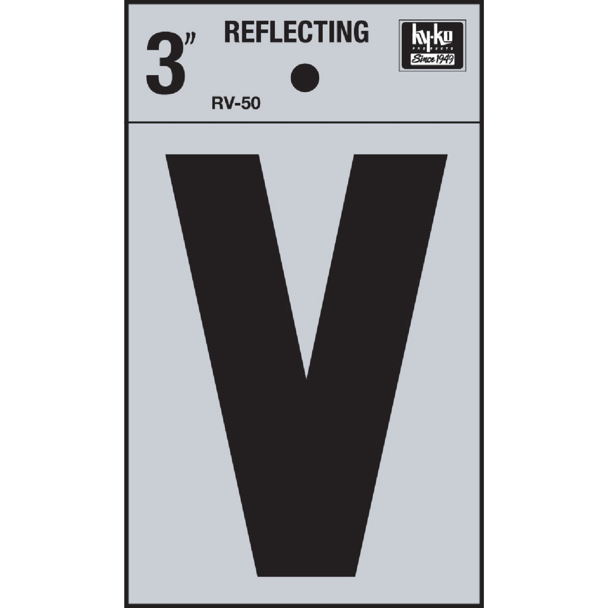"3"" REFLECT LETTER V - RV-50V by Hy Ko Prods Co"