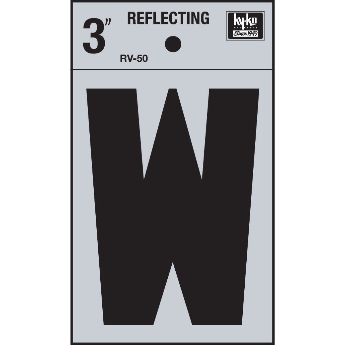 "3"" REFLECT LETTER W - RV-50W by Hy Ko Prods Co"