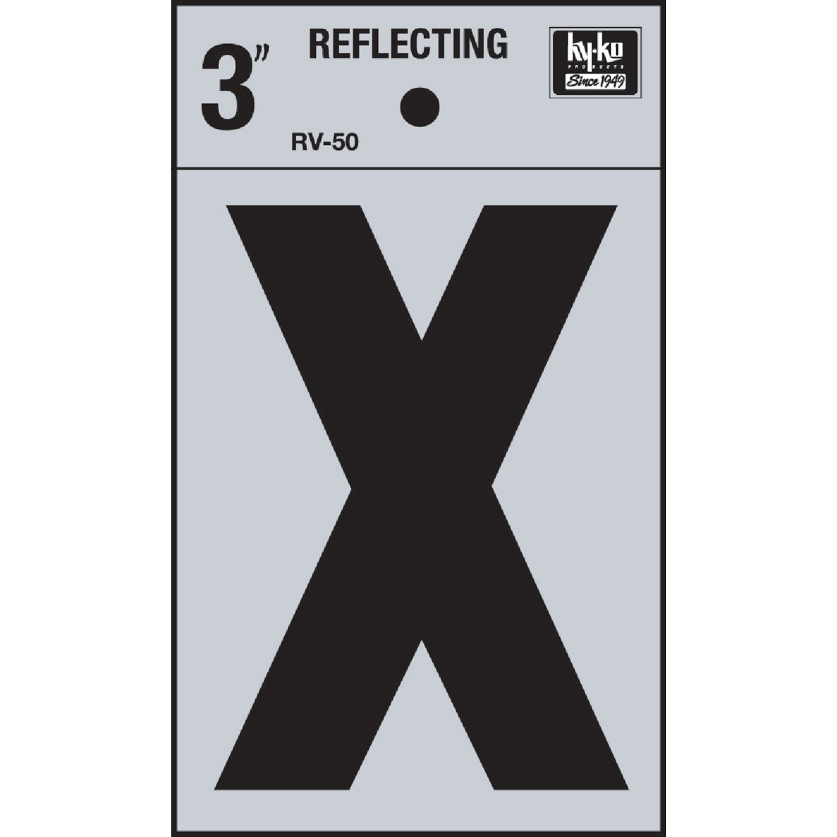 "3"" REFLECT LETTER X - RV-50X by Hy Ko Prods Co"