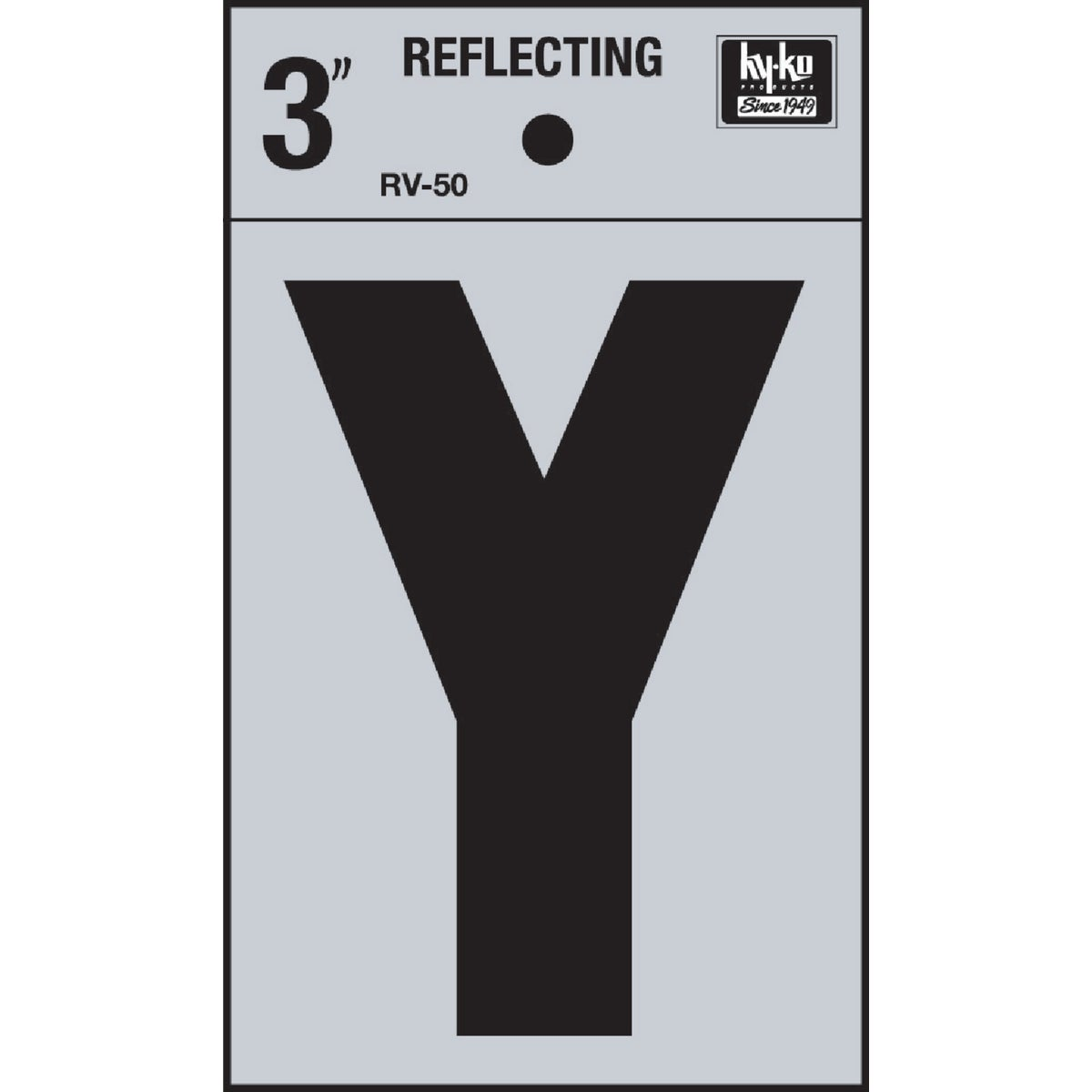 "3"" REFLECT LETTER Y - RV-50Y by Hy Ko Prods Co"