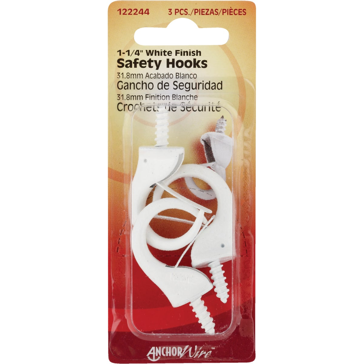 WHITE SAFETY HOOK - 122244 by Hillman Fastener