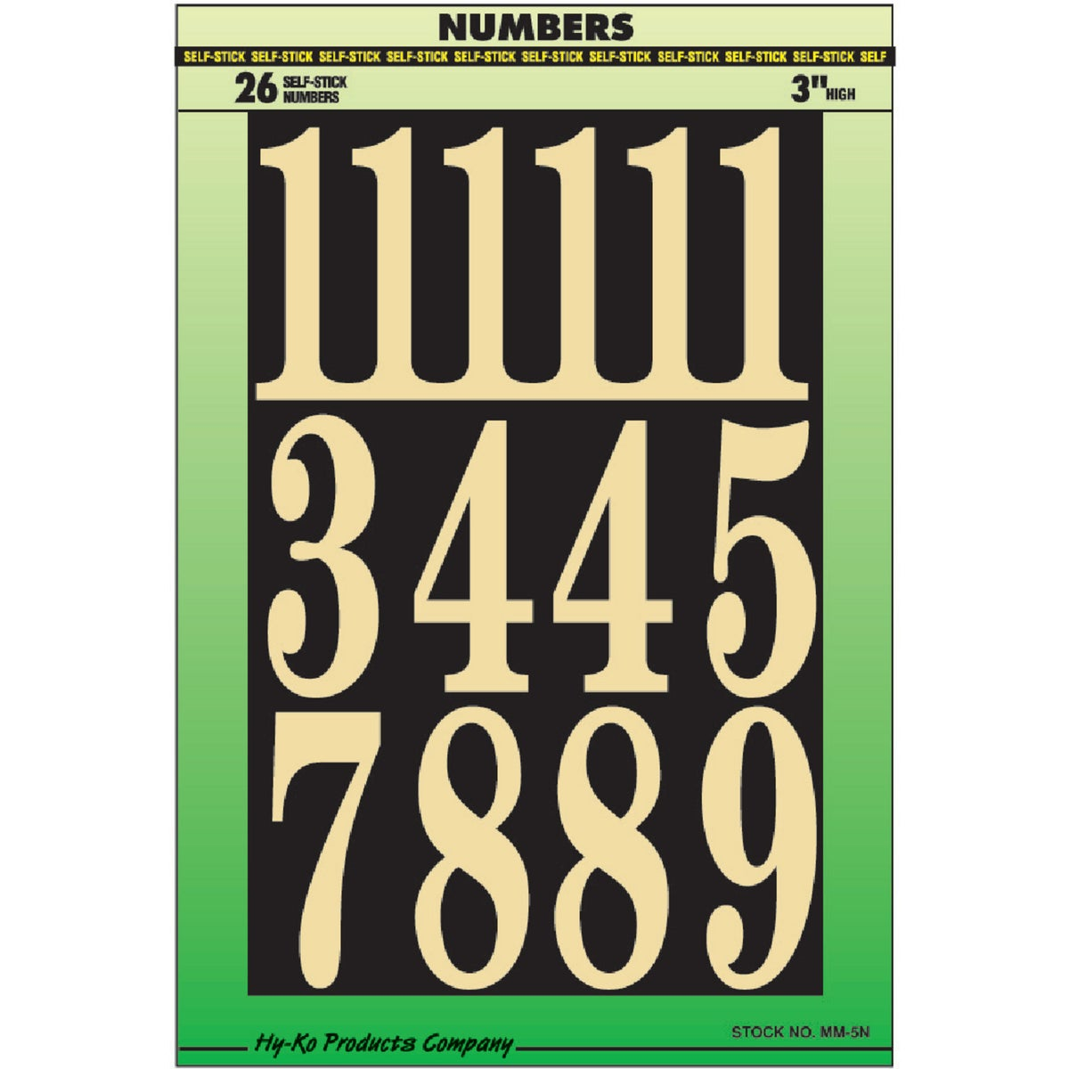 "3"" NUMBERS - MM-5N by Hy Ko Prods Co"
