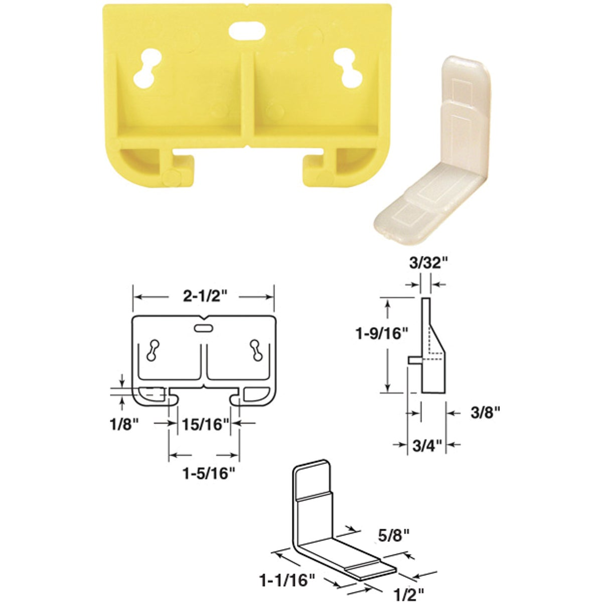 WHITE NYLON TRACK GUIDE - 22625 by Prime Line Products