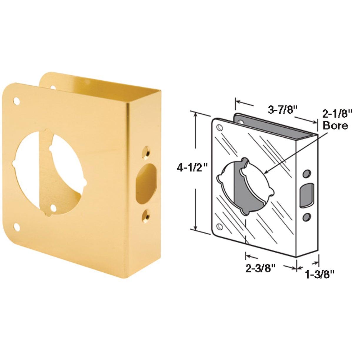 Defender Security 1-3/8 In. x 2-3/8 In. Brass Door Reinforcer