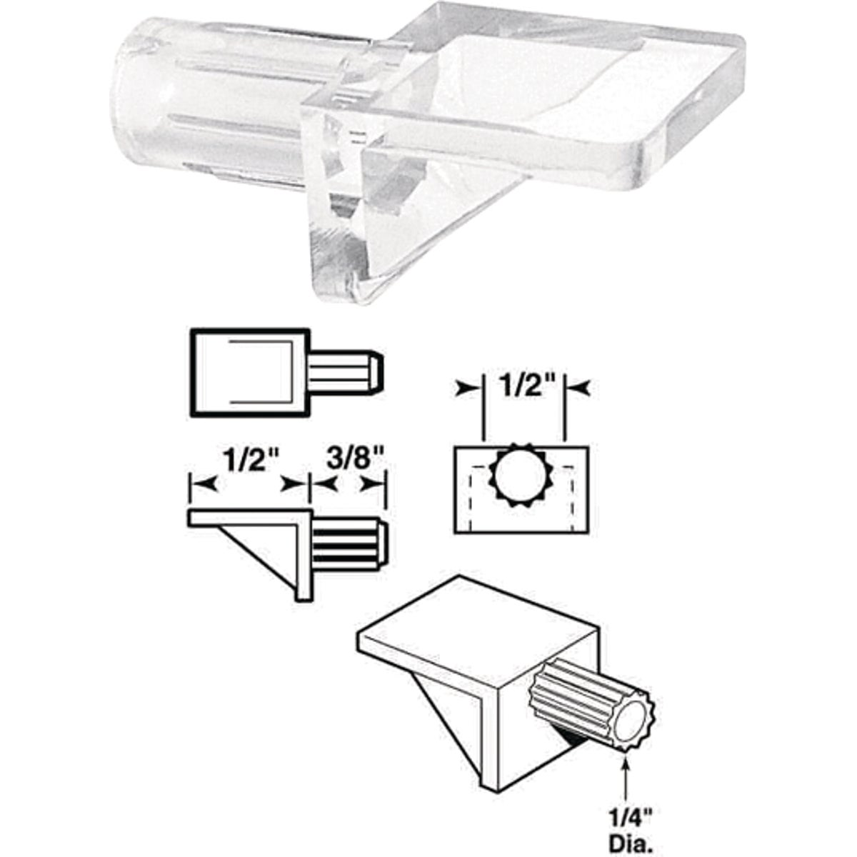 SLIDE-CO Clear Butyrate Shelf Support, 242152