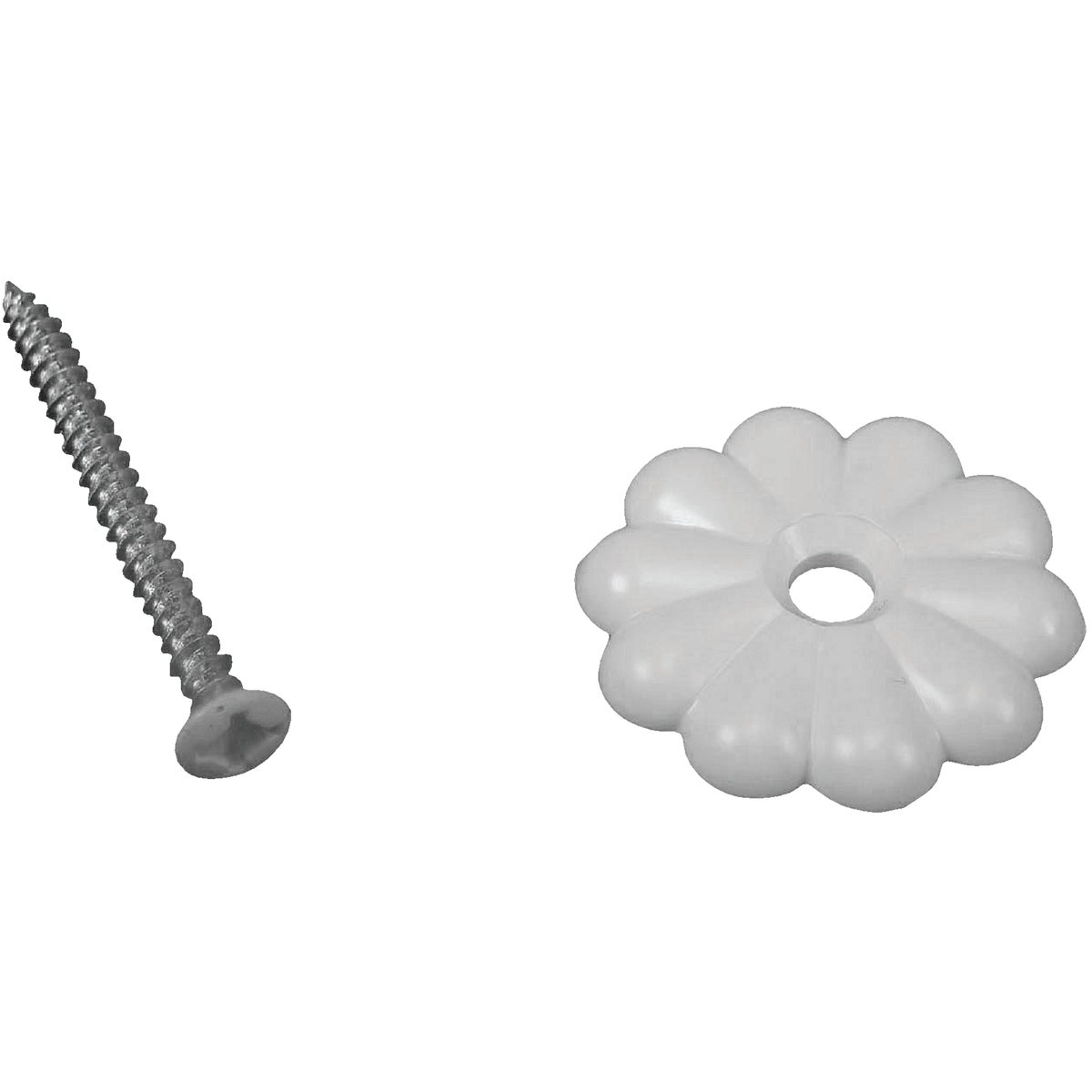 WHITE ROSETTE W/SCREWS - D-138C by U S Hardware