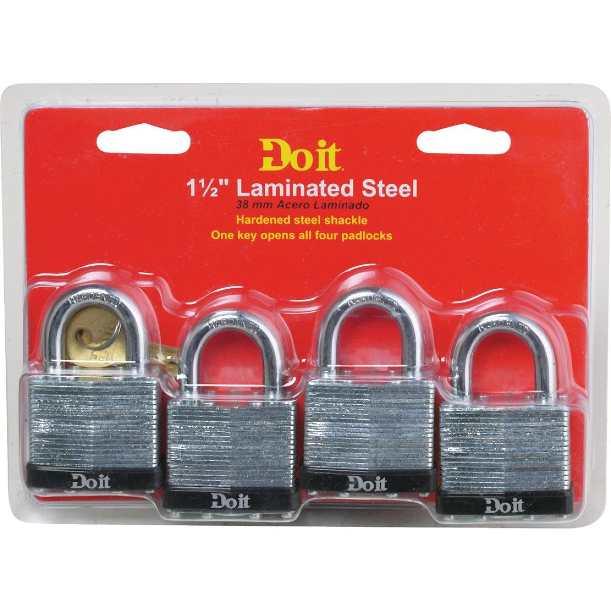 "4PK 1-1/2"" LAMNT PADLOCK - 1803QDIB by Master Lock Company"