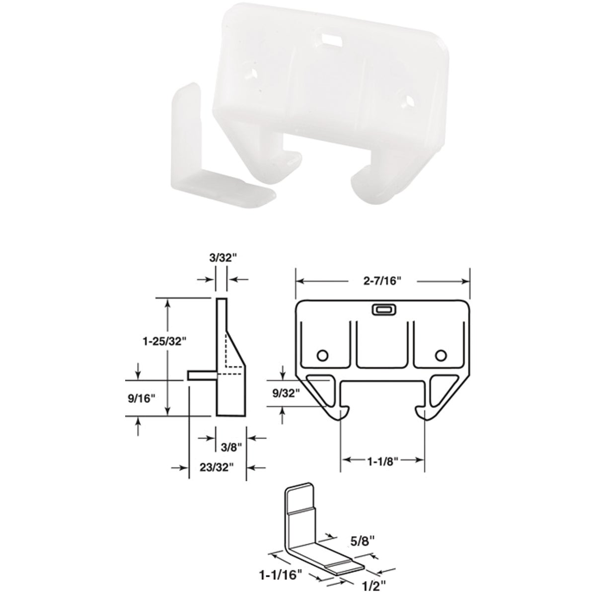 WHITE NYLON TRACK GUIDE - 222186 by Prime Line Products