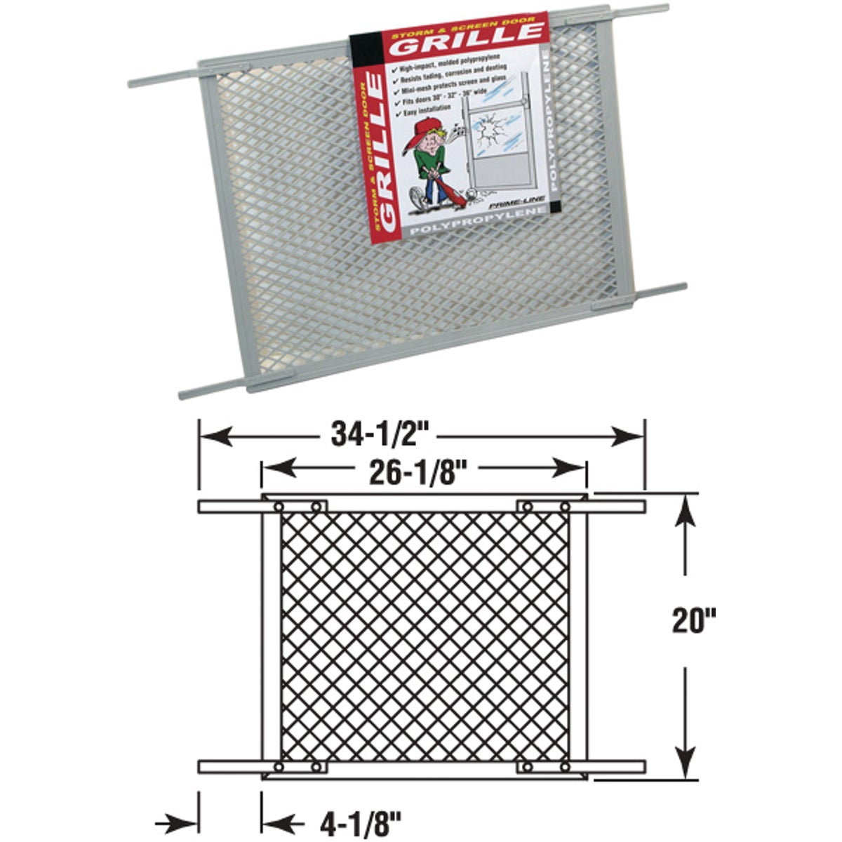 GRAY SCREEN& DOOR GRILLE - PL-15515 by Prime Line Products