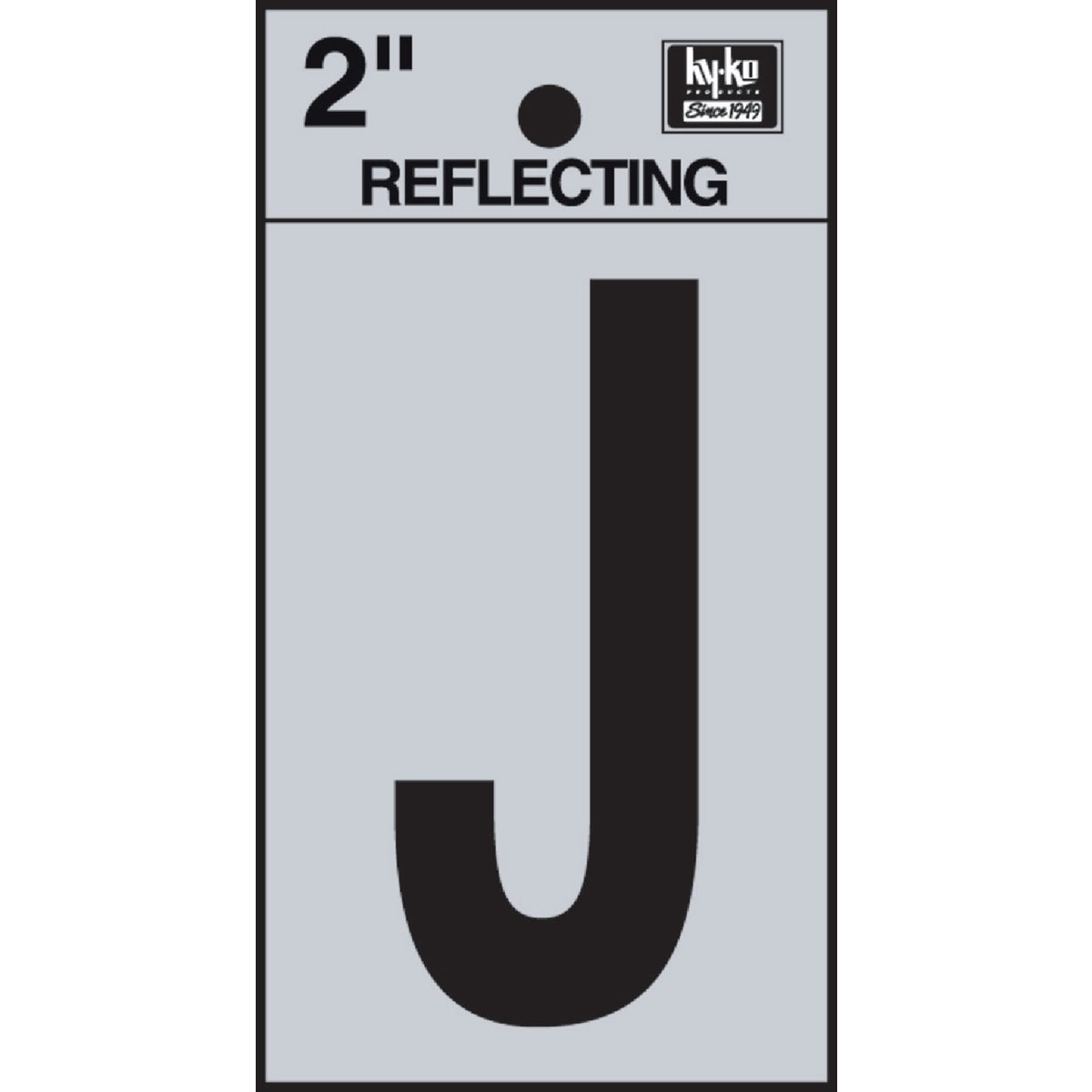 "2"" REFLECT LETTER J - RV-25/J by Hy Ko Prods Co"