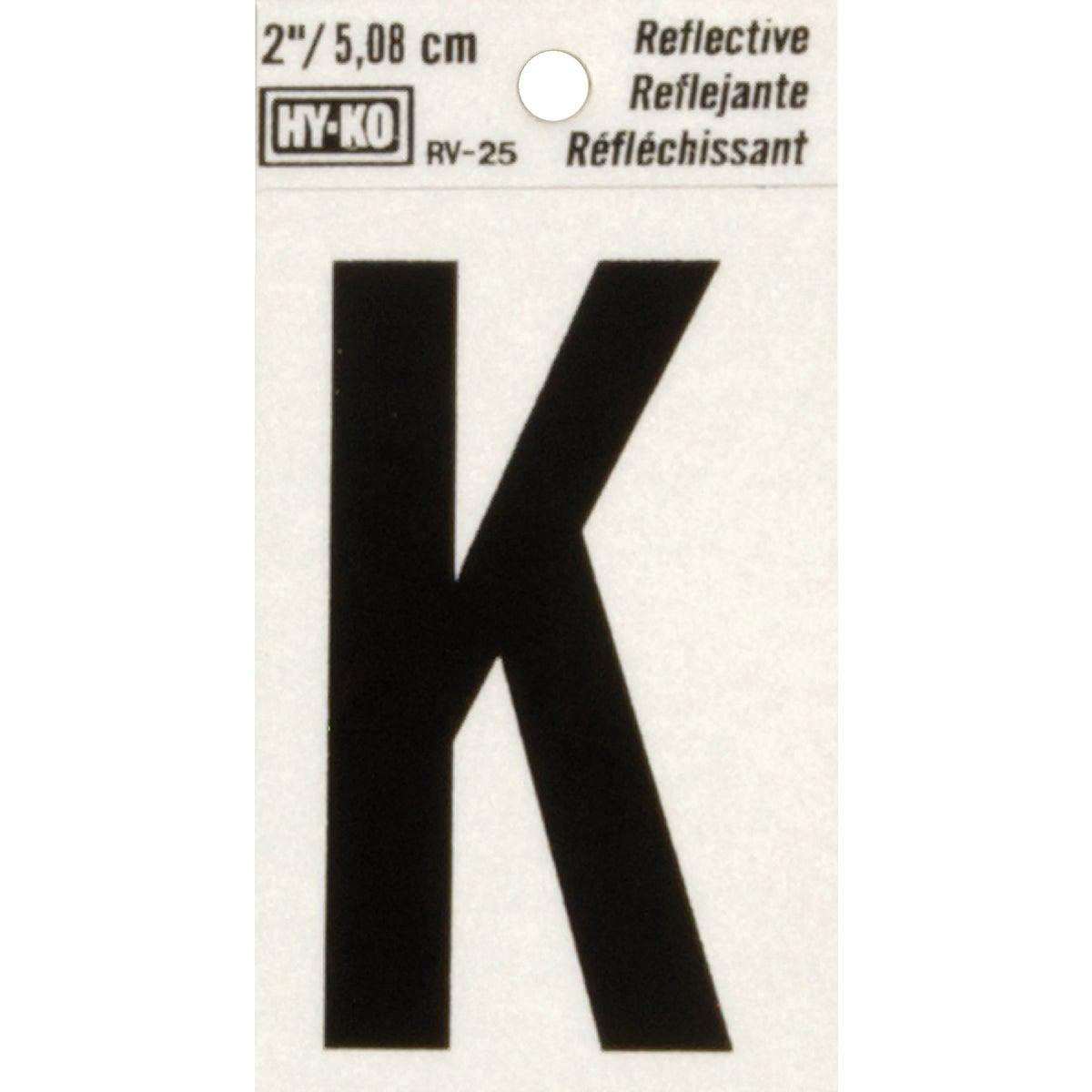"""2"""" REFLECT LETTER K - RV-25/K by Hy Ko Prods Co"""