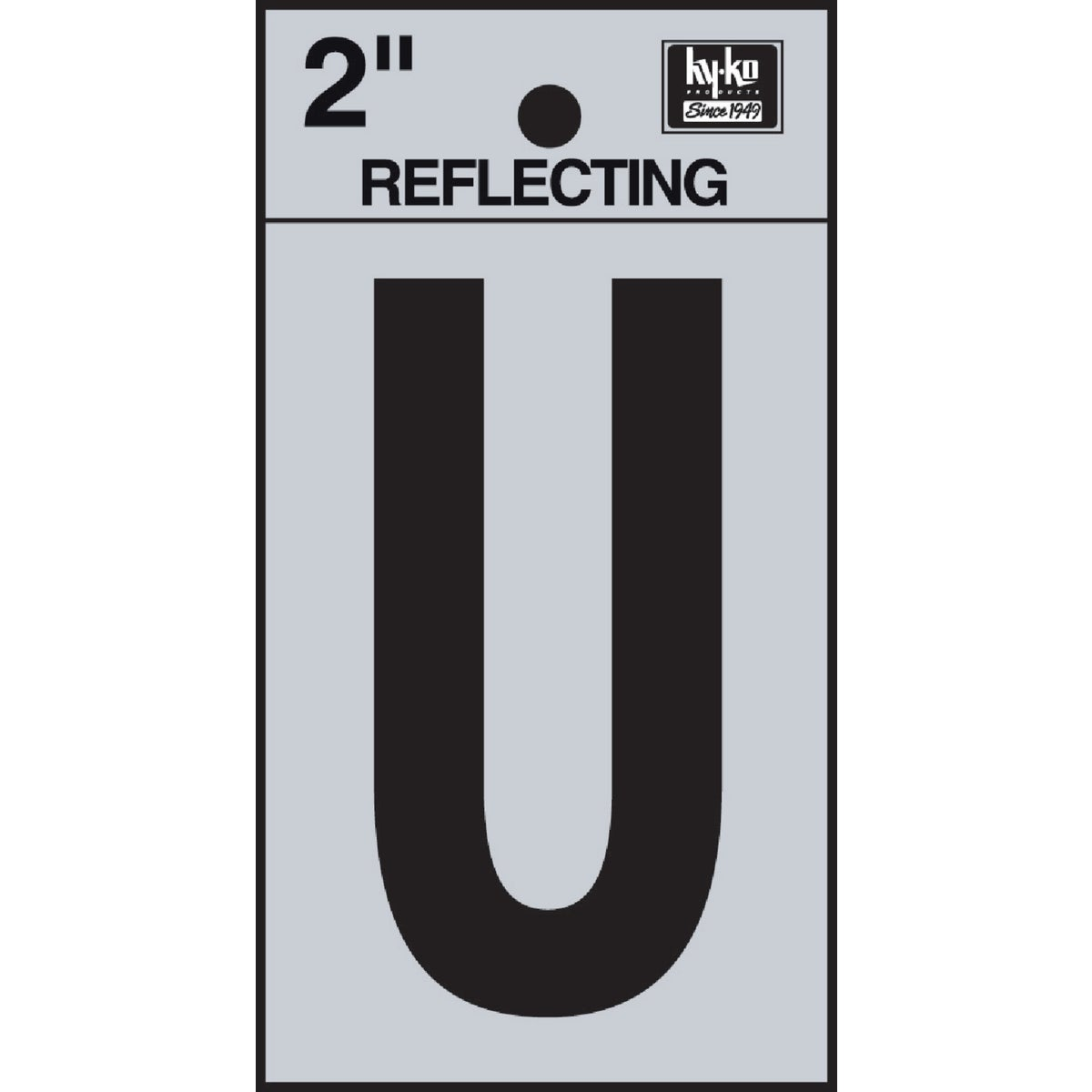 "2"" REFLECT LETTER U - RV-25/U by Hy Ko Prods Co"