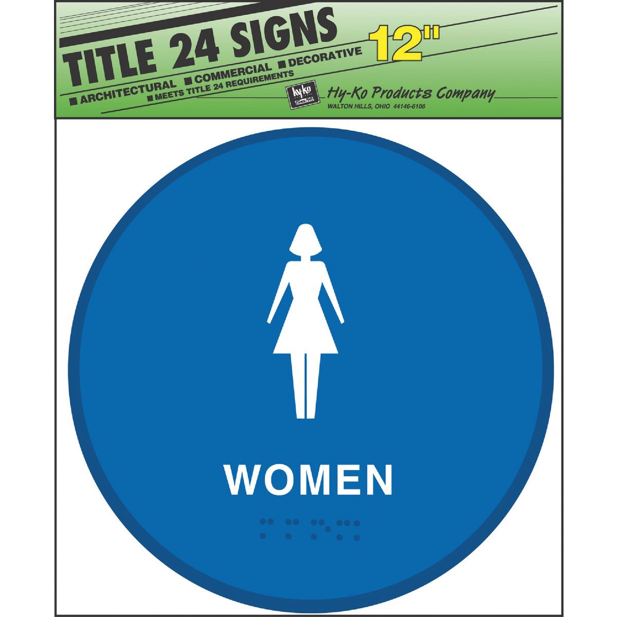 WOMEN BLUE ROUND SIGN - T-24W by Hy Ko Prods Co