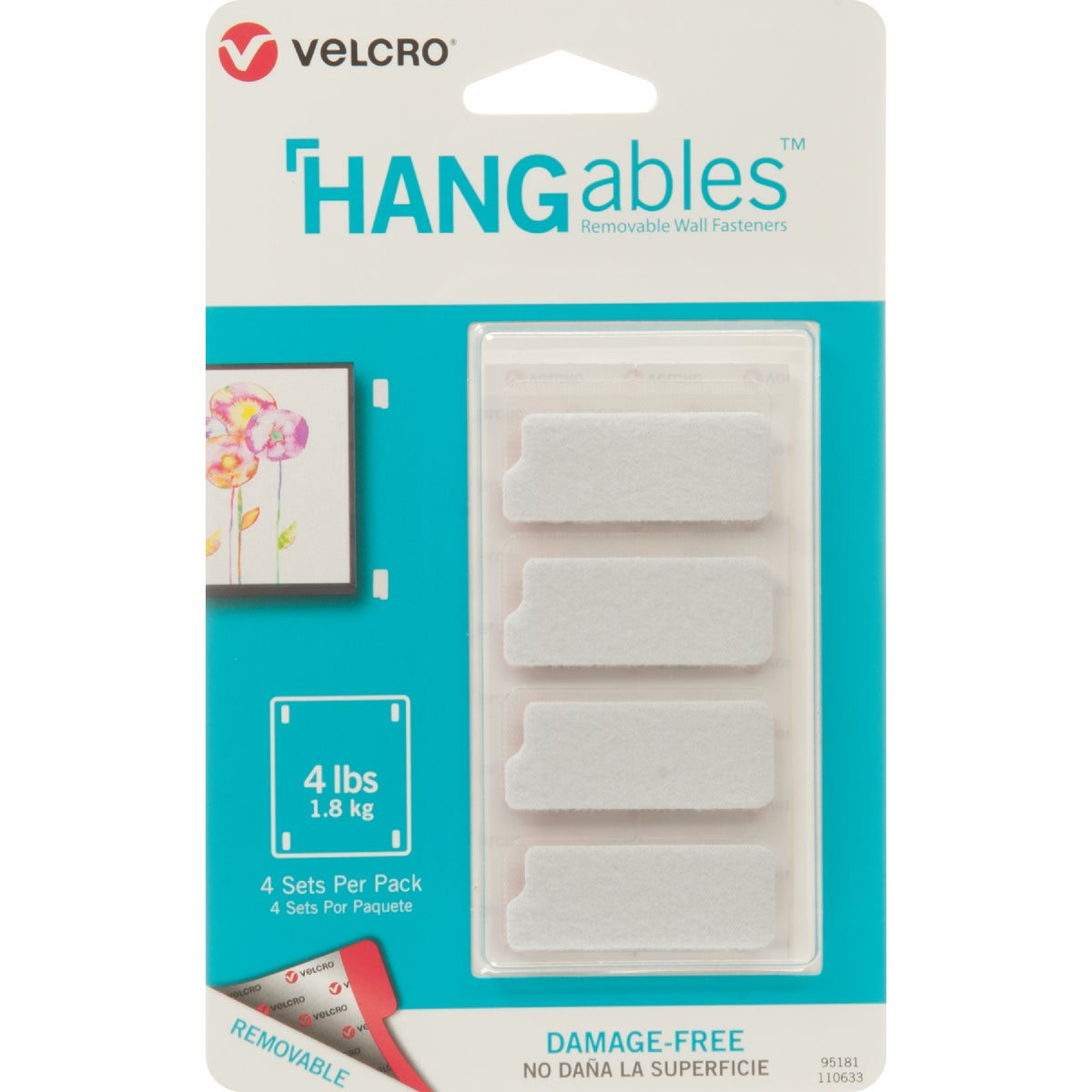 VELCRO Brand Hangables Removable Hook & Loop Strip