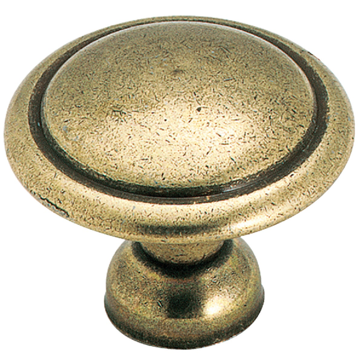 Amerock 1-3/8 In. Round Antique Brass With Decorative Circle Traditional Knob