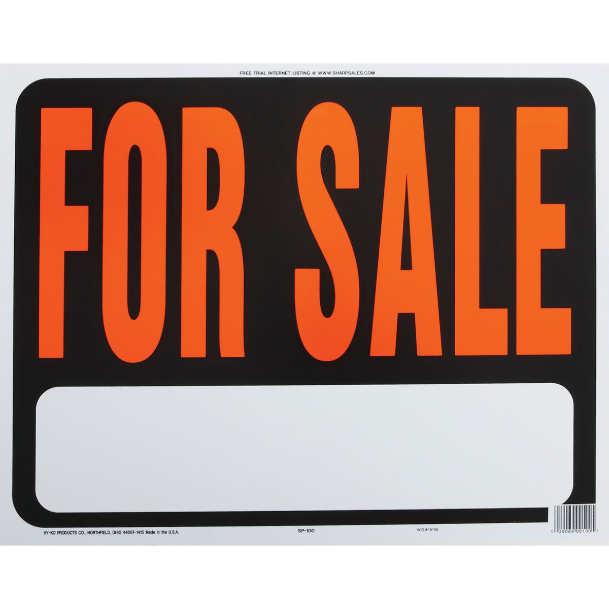 15X19 FOR SALE SIGN - SP-100 by Hy Ko Prods Co