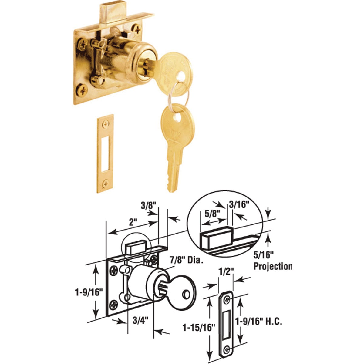 MORTISE DOOR CAM LOCK - U 10666 by Prime Line Products