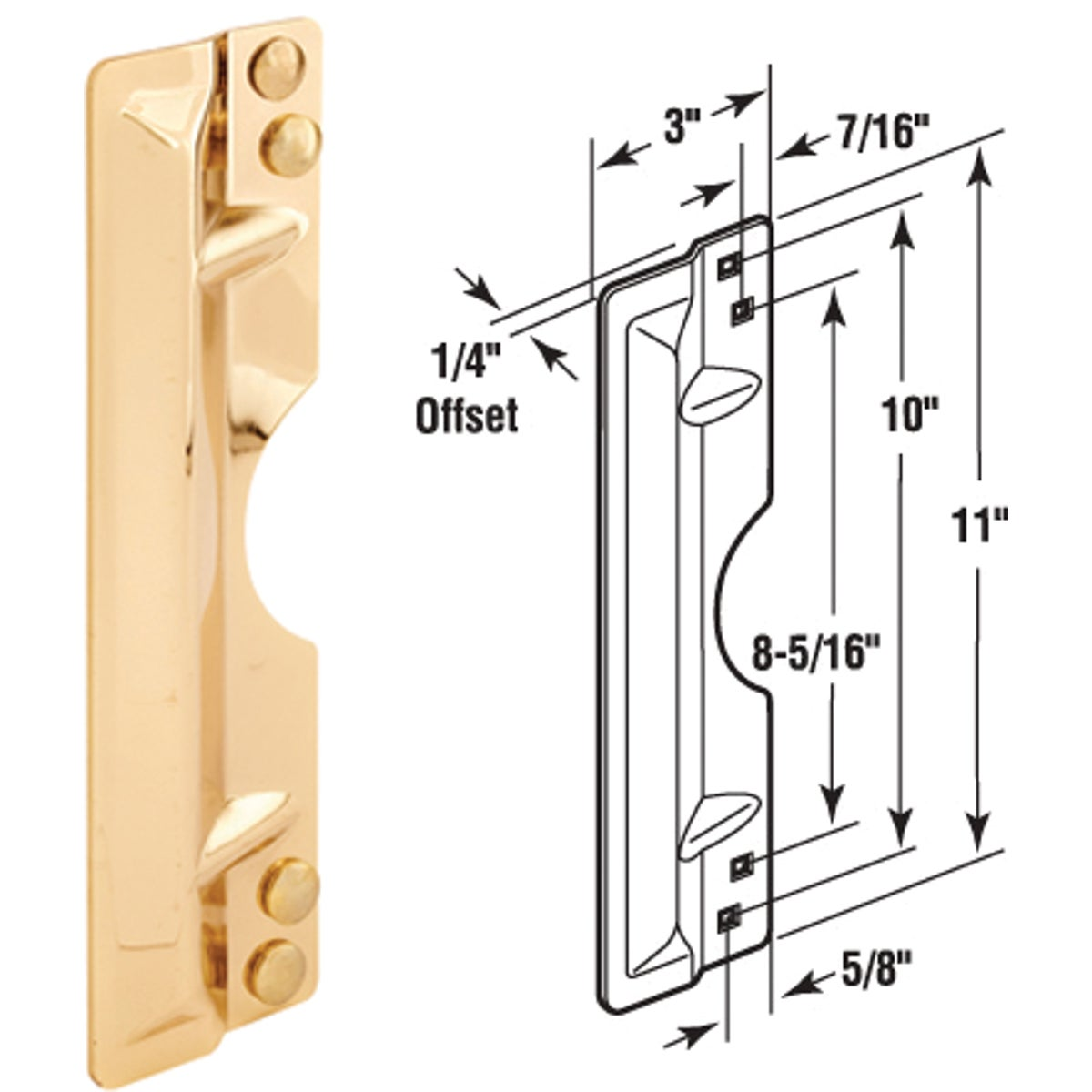 "11-3/4"" PB LATCH GUARD - U 10027 by Prime Line Products"