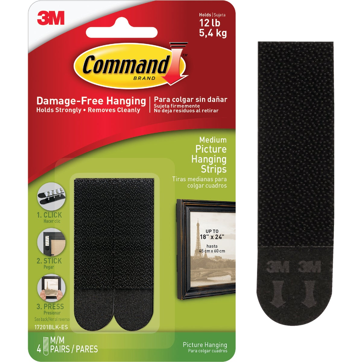 CMND BLK PICT HANG STRIP - 17201BLK-4PK by 3m Co