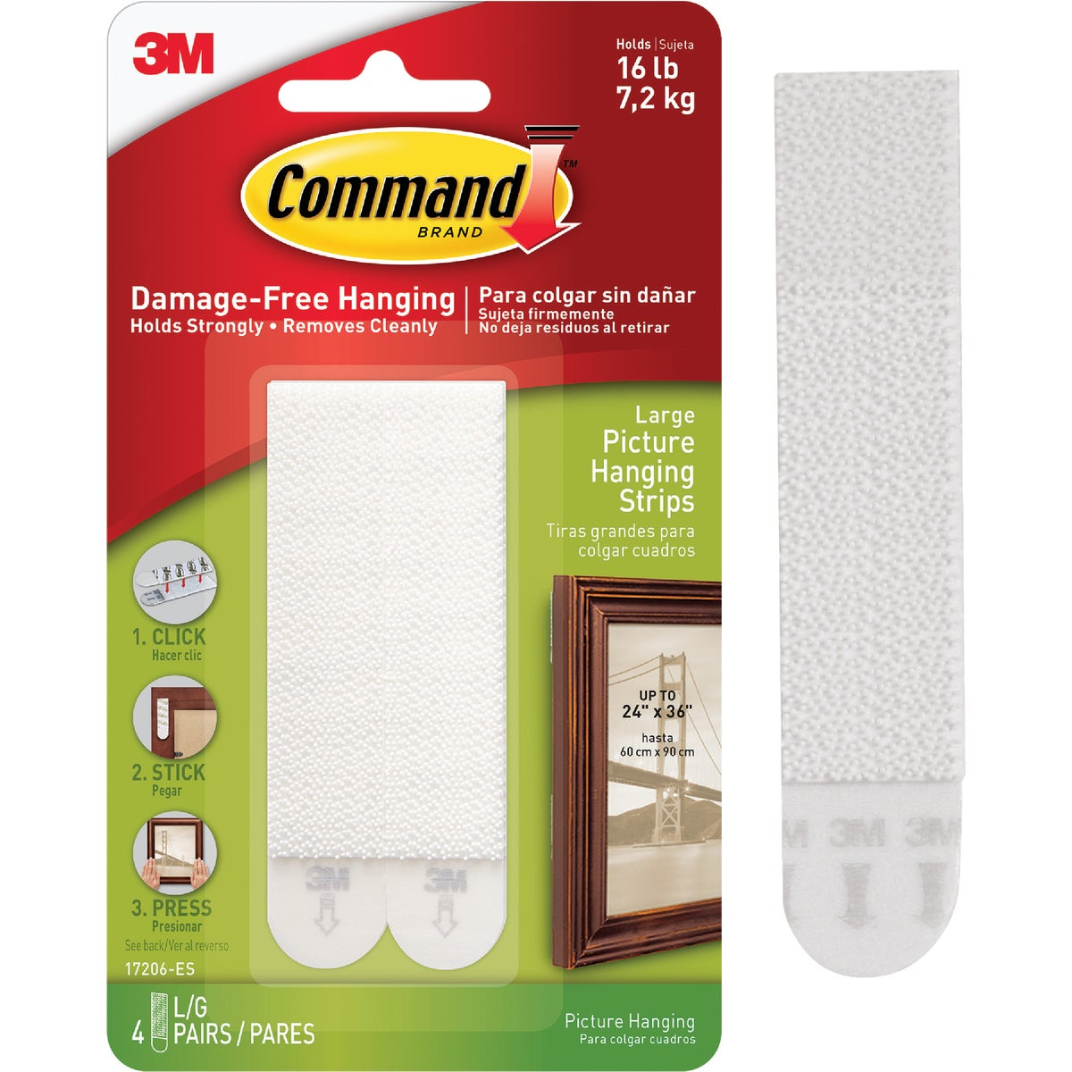 CMND WHT PICT HANG STRIP - 17206-4PK by 3m Co