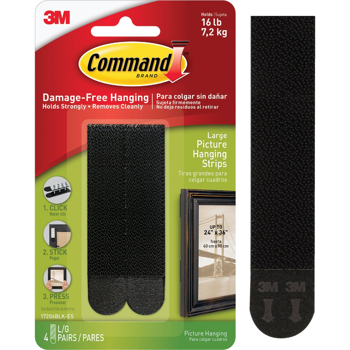 CMND BLK PICT HANG STRIP - 17206BLK-4PK by 3m Co
